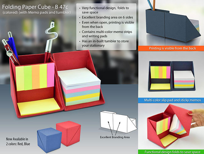 Folding paper cube in color (with memo pad and tumbler) - B47C