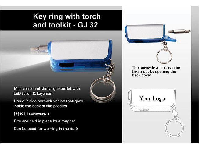 GJ32 - Key ring with torch and toolkit (mini)