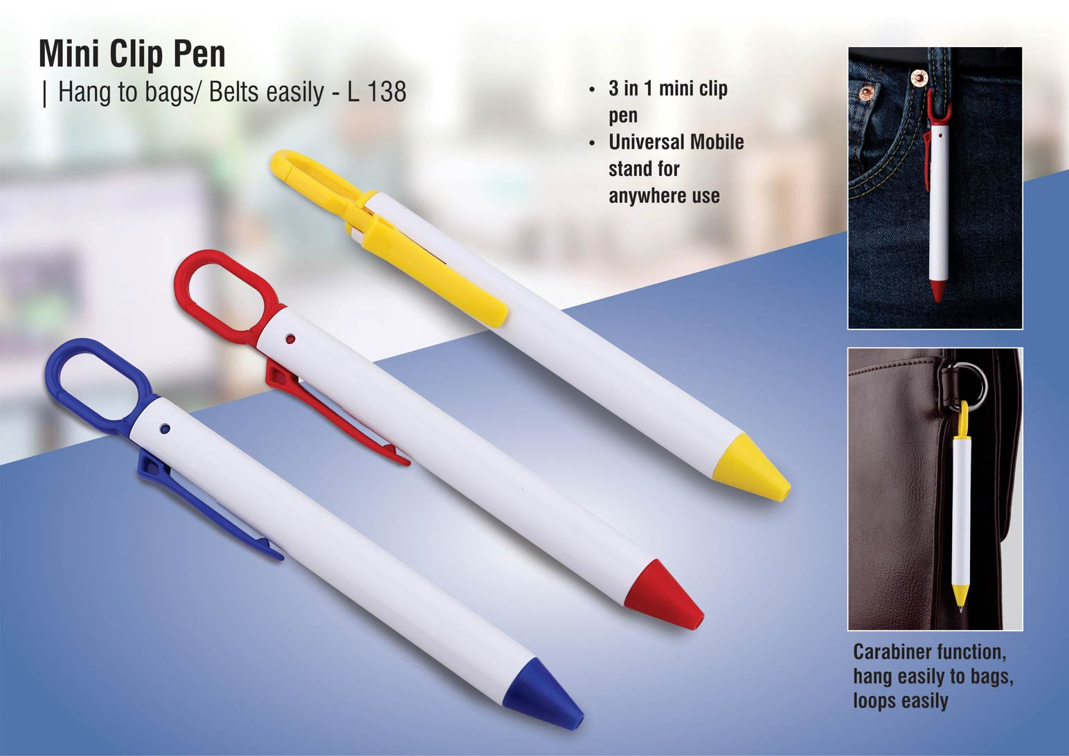 L138 - Mini clip pen | Hang to bags/ belts easily
