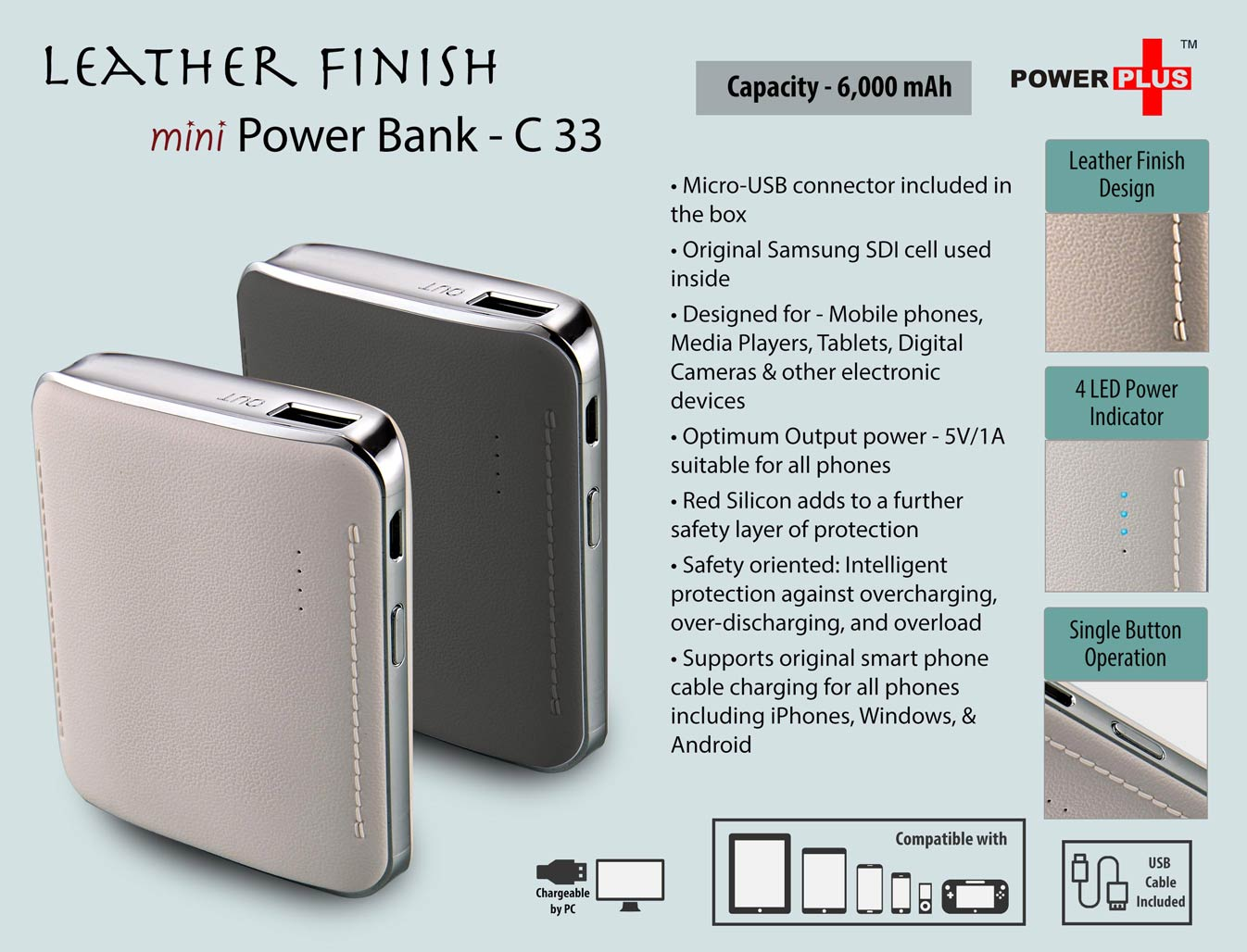 C33 - Leather Finish Mini Power Bank (6,000 mAh)