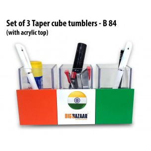 B84 - Set of 3 Taper cube tumblers with acrylic top