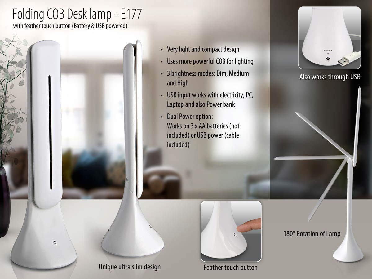 E177 - Folding COB Desk lamp with feather touch button (battery & USB powered)