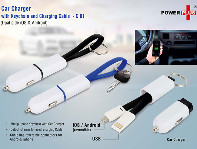Car charger with keychain and charging cable (dual side iOS & Android) - C81