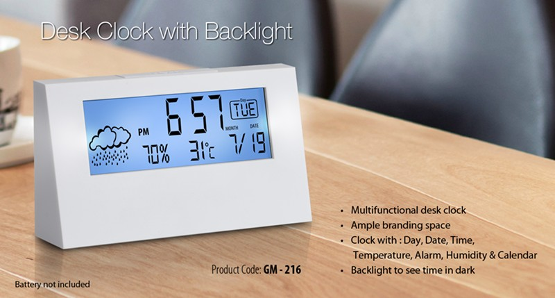 GM- 216 Desk Clock With Backlight