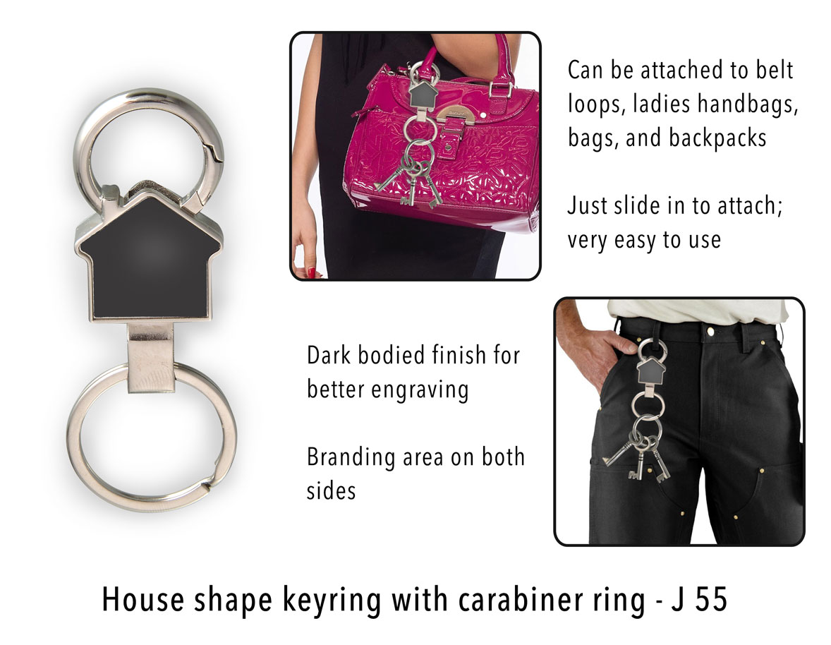J55 - House shape keyring with carabiner ring