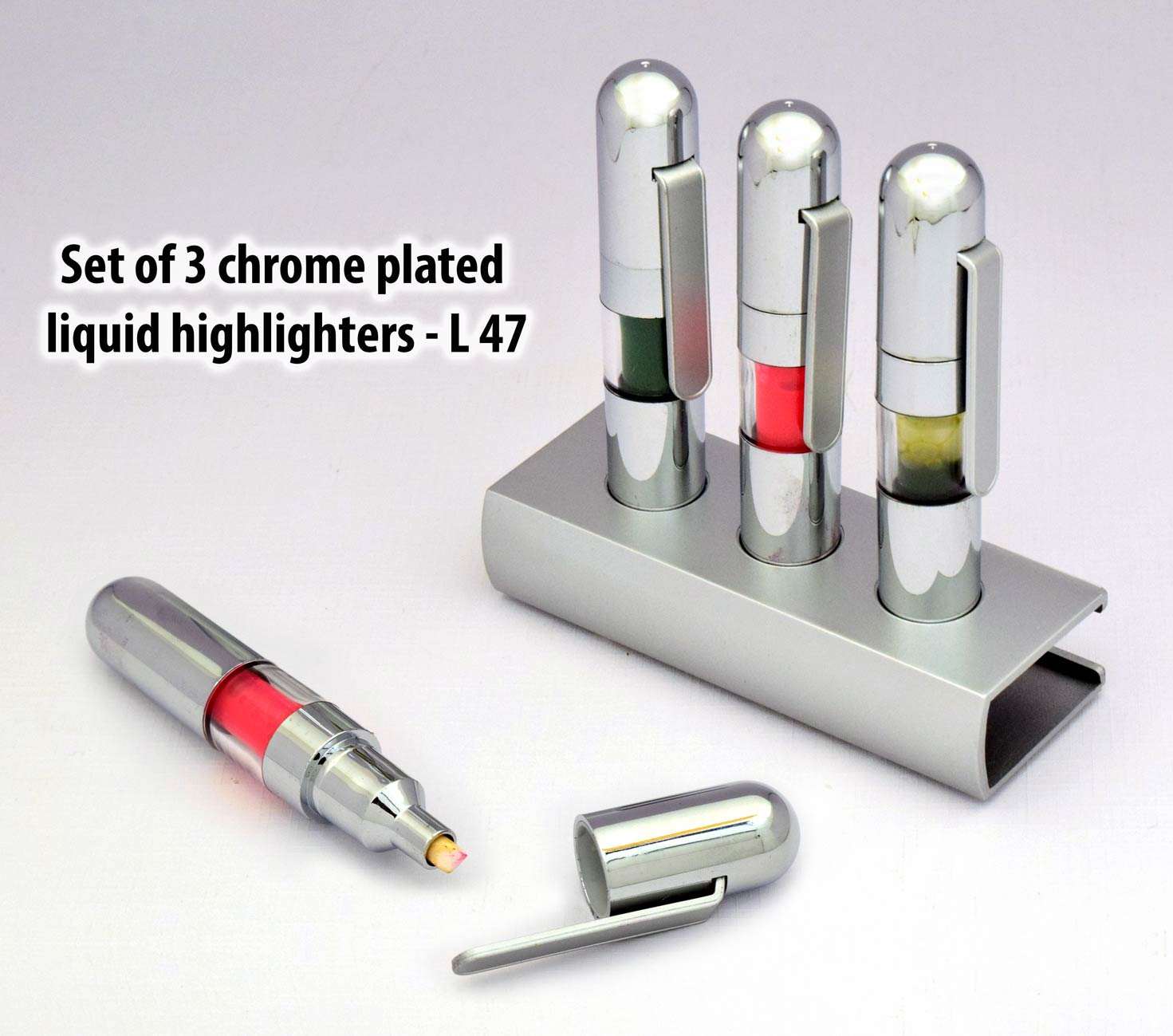 GL47 - Set of 3 chrome plated liquid highlighters