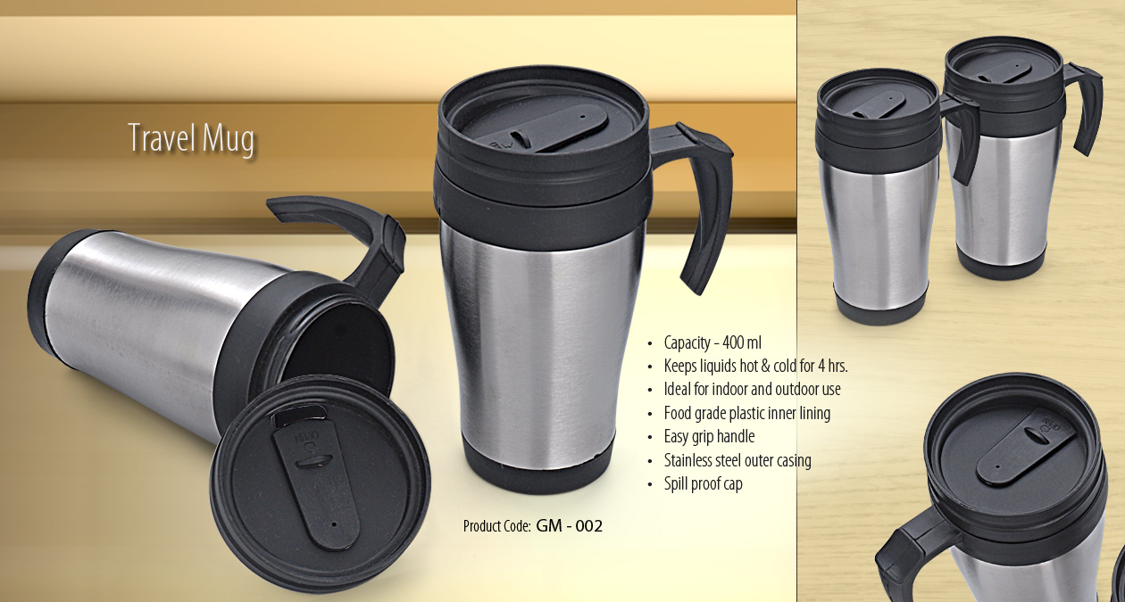 SIPPER OUTSIDE STEEL INSIDE PLASTIC- TRAVEL MUG
