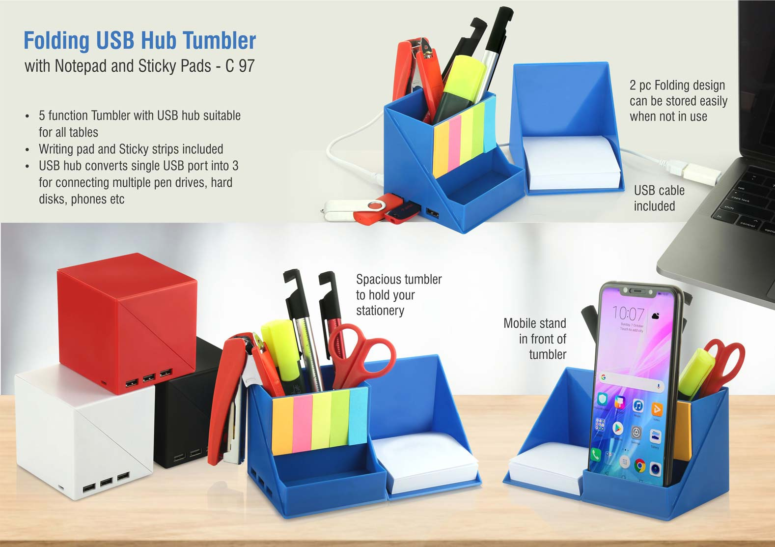 C97 - Folding USB hub tumbler with notepad and sticky pads | 3 USB ports