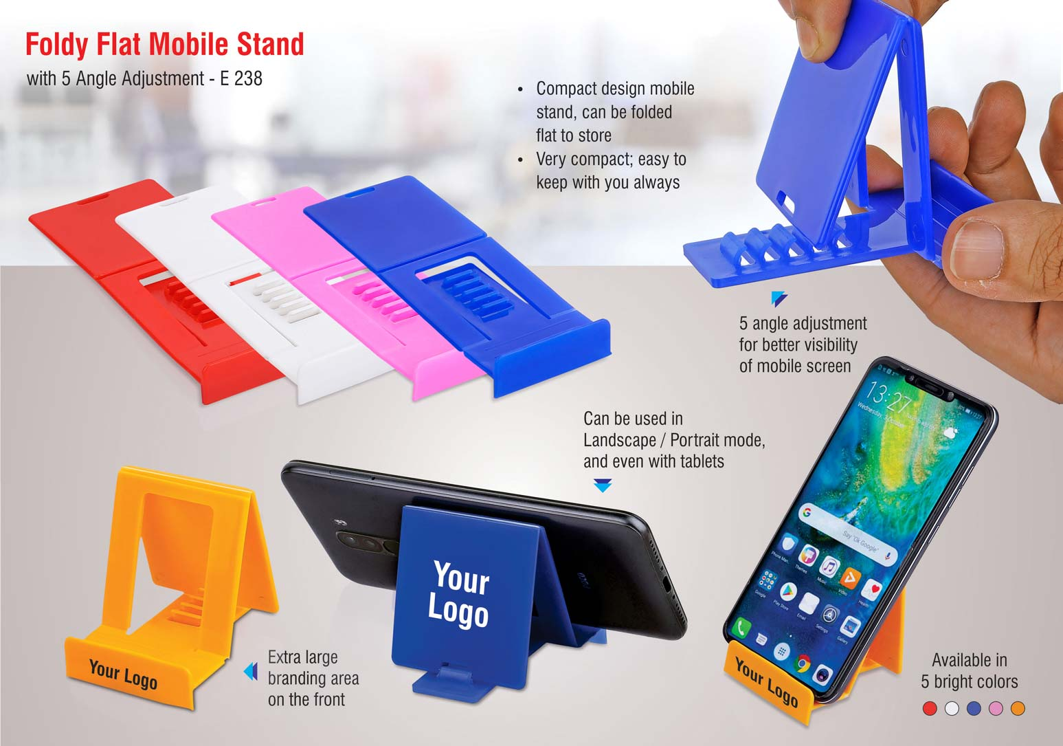 E238 - FoldyFlat mobile stand with 5 angle adjustment