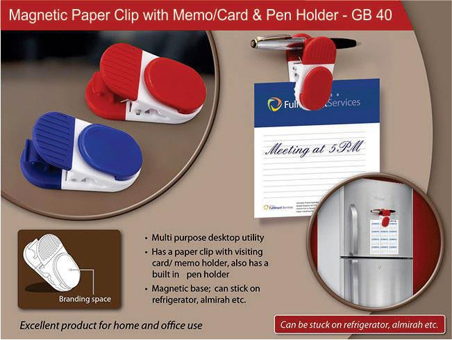GB40 - Magnetic Paper clip with memo/card and pen holder