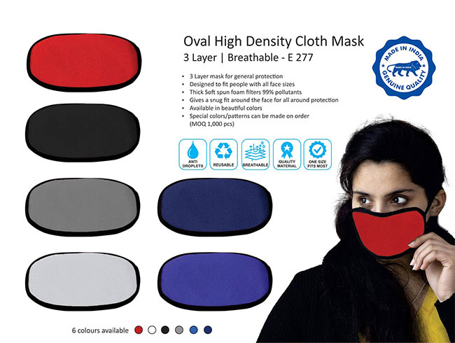 Oval high density cloth mask | 3 layer | Breathable - E277