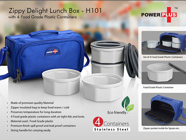 Zippy Delight: 4 container lunch box (plastic containers) - H101