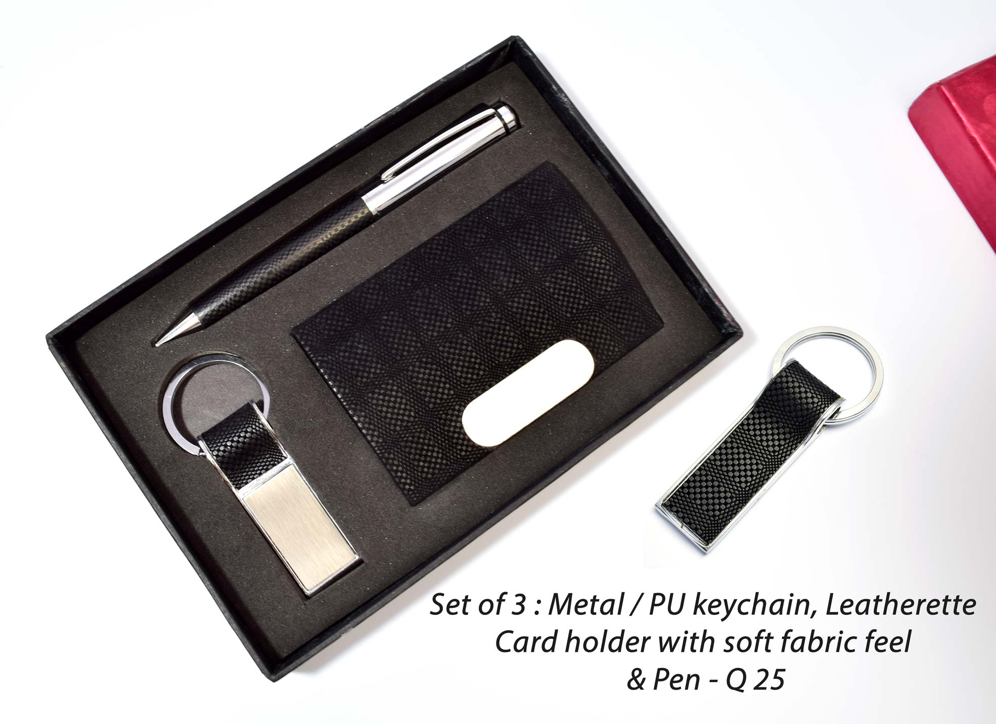 Q25 - Set of 3 :- Metal /PU key chain, Leatherette Card holder with soft fabric feel & pen