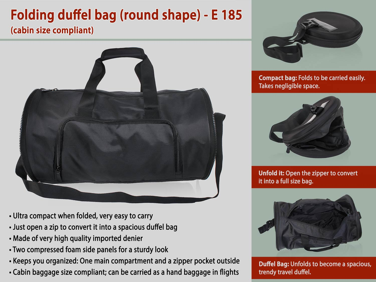 E185 - FOLDING DUFFEL BAG (ROUND SHAPE) (CABIN SIZE COMPLIANT)