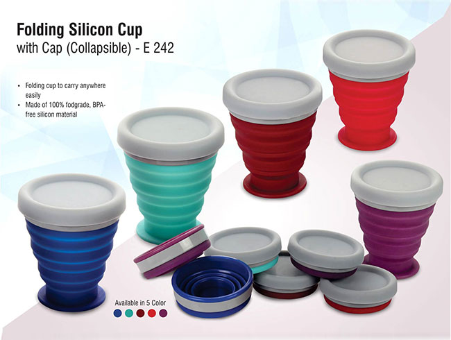 Folding silicon cup with cup (collapsible) - E242