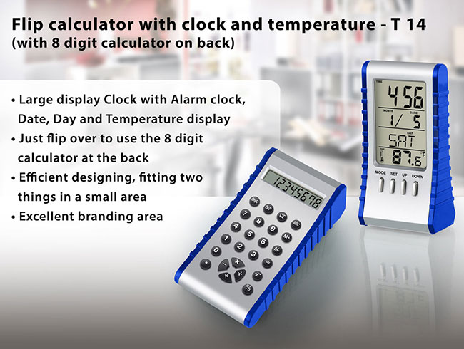 Flip calculator with clock and temperature - T14