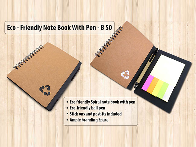 Eco notebook with pen and sticky pads - B50