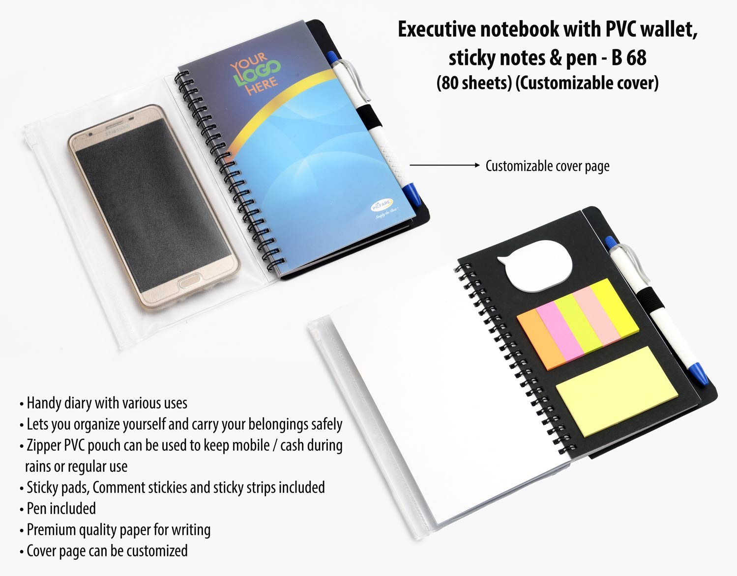 B68 - Executive notebook with PVC wallet, sticky notes & pen (80 sheets) (Customizable cover)