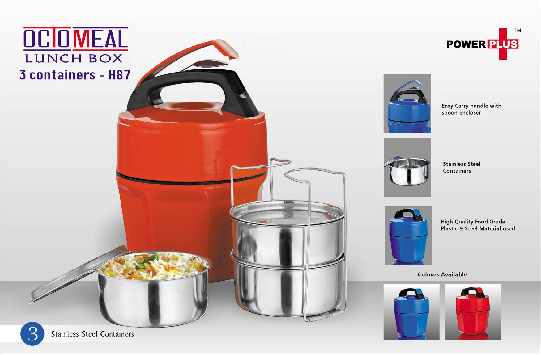 H87 - Power Plus Octomeal Lunch box - 3 containers (steel)