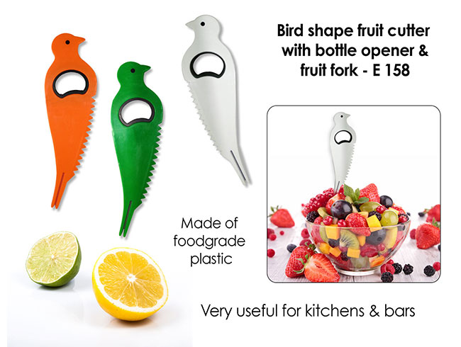 Bird shape fruit cutter with opener and fruit fork - E158