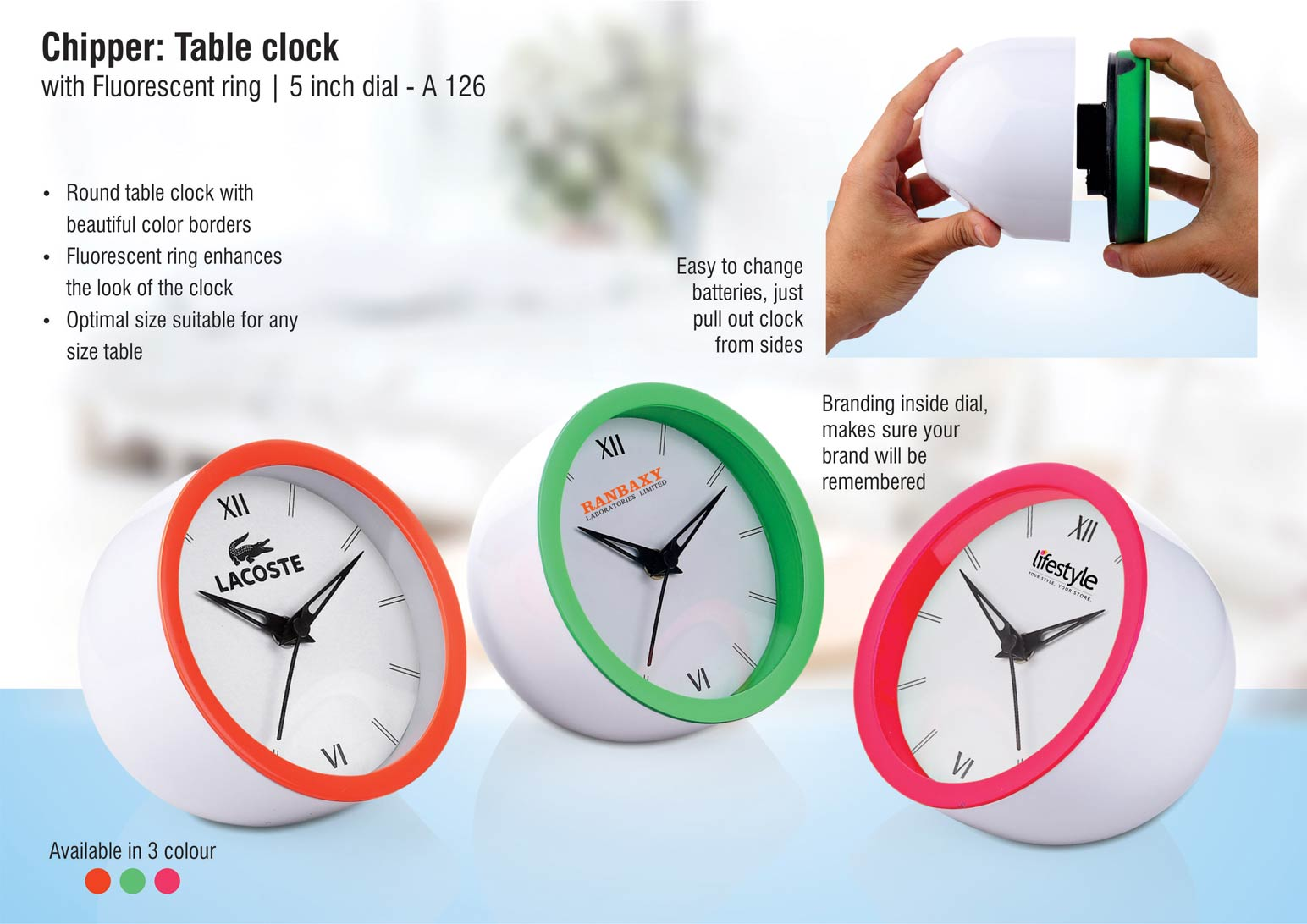 A126 - Chipper: Table clock with Fluorescent ring | 5 inch dial | Branding included MOQ 200pc