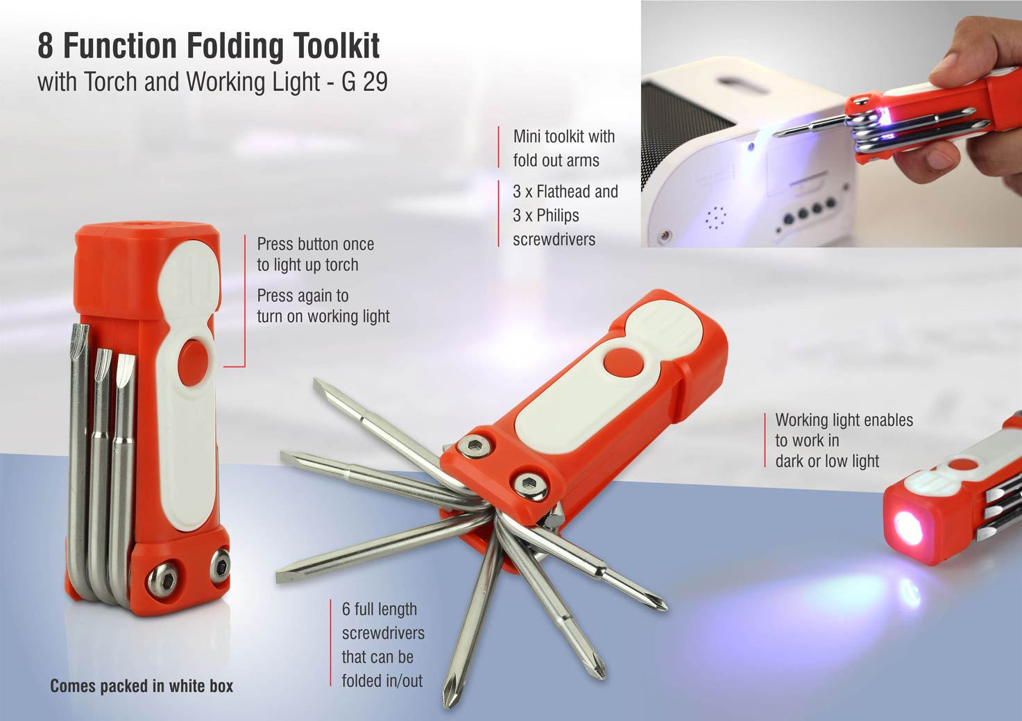 G29 - 8 function folding toolkit with torch and working light