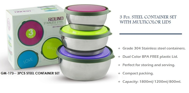 GM- 173 3 Pcs Steel Container Set With Multicolor Lids