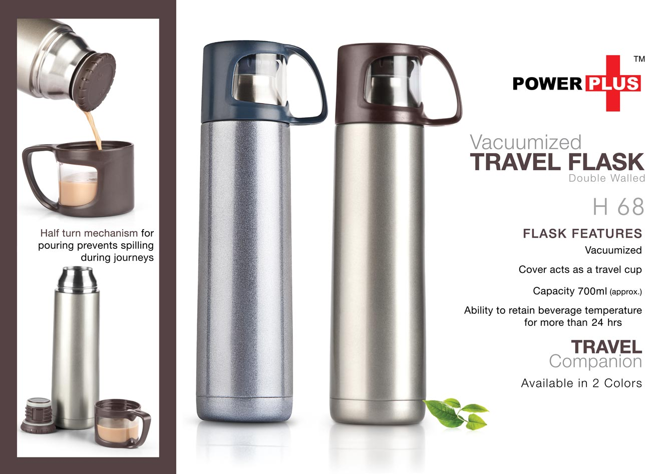 H68 - Power Plus Vacuumized travel flask (700 ml)