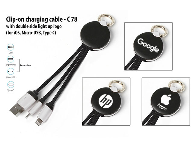 Clip-on charging cable with double side light up logo (iOS, Micro-USB, Type C) - C78