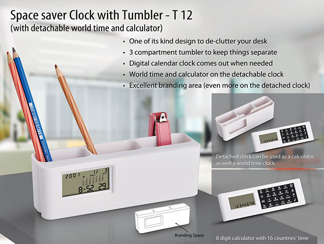 Space saver clock with Tumbler (with detachable world time calculator) (with battery) - T12