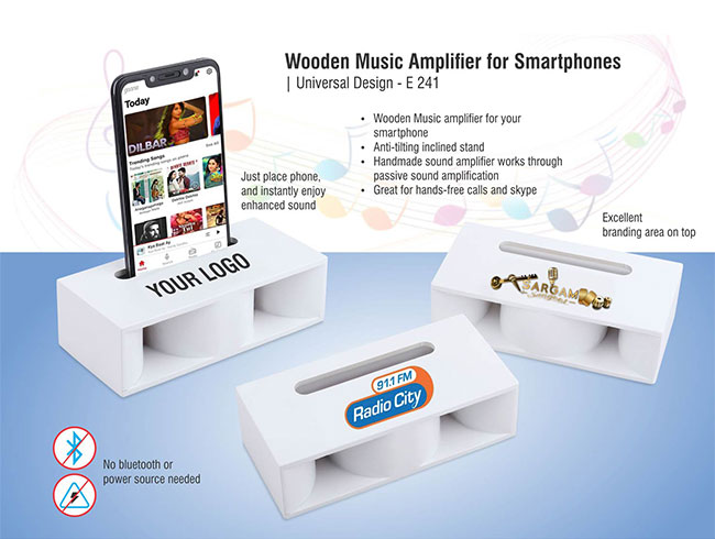 Wooden Music Amplifier for Smartphones | Universal Design (printing included MOQ 100 pc) - E241