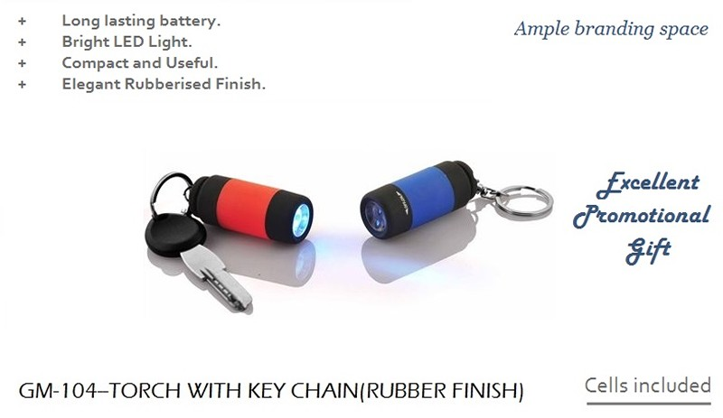 104 Torch With Key Chain ( Rubber Finish )
