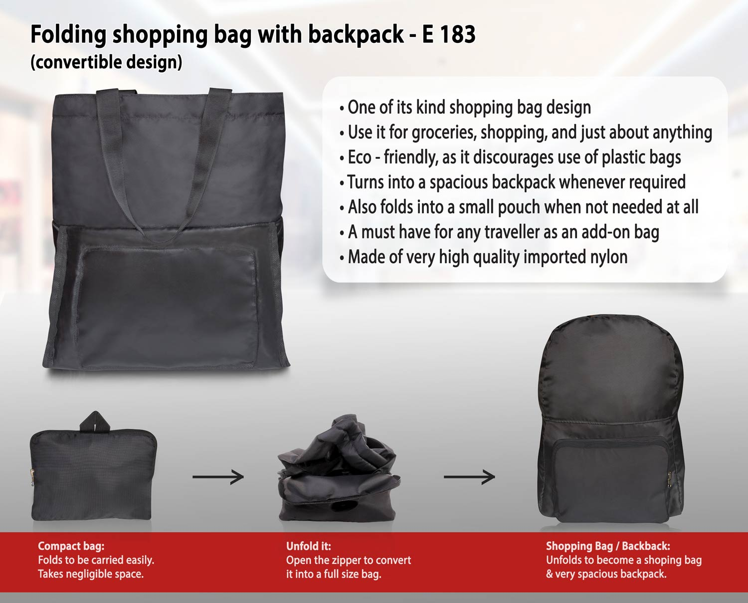 E183 - FOLDING SHOPPING BAG WITH BACKPACK (CONVERTIBLE DESIGN)