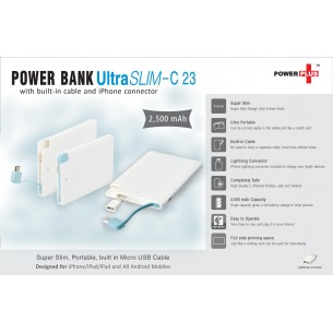 C23 - Ultra Slim Power Bank (with built-in cable and iPhone connector) (2,500 mAh)