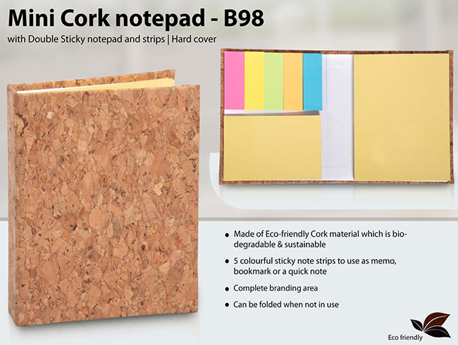 Mini Cork notepad with Double Sticky notepad and strips | Hard cover - B98