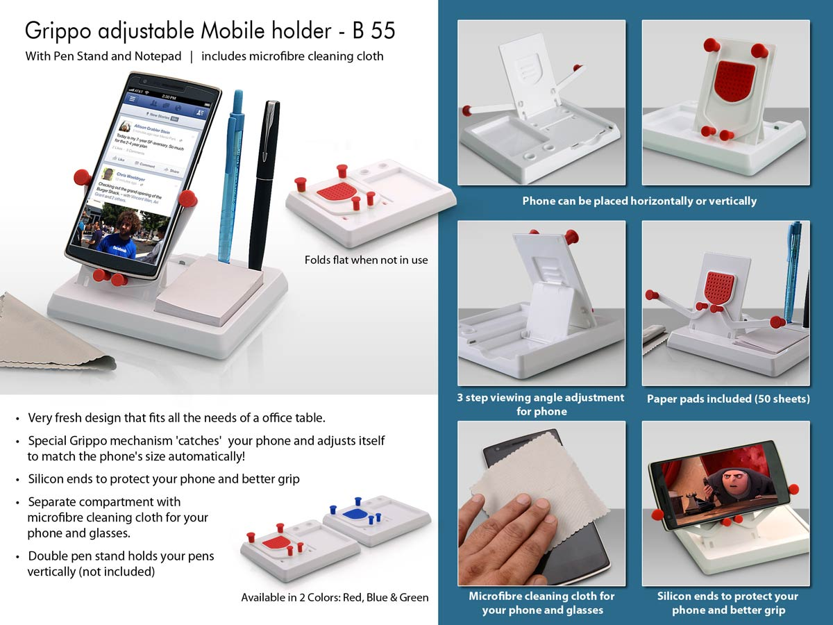 B55 - Grippo Mobile holder with angle adjustment, pen stand, and notepad