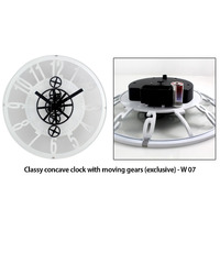 W07 - Classy concave clock with moving gears (exclusive)