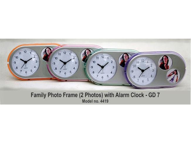 GD07 - Family Photo Frame With Clock (Oval Shape)