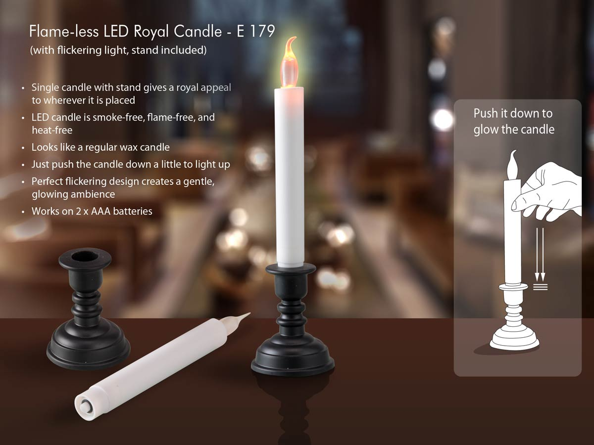 E179 - Flame-less LED flickering candle with stand (with flickering light)