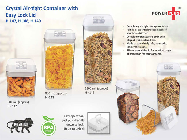 H147 - CRYSTAL AIR-TIGHT CONTAINER WITH EASY LOCK LID (500 ML) BY POWER PLUS