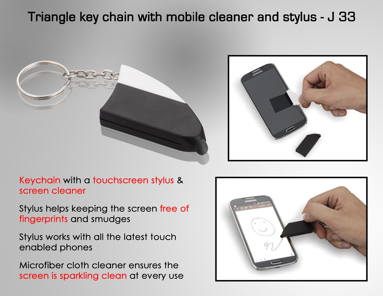 J33 - Triangle key chain with mobile cleaner and stylus