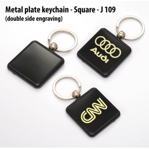 J109 - Metal plate keychain - Square (double side engraving)