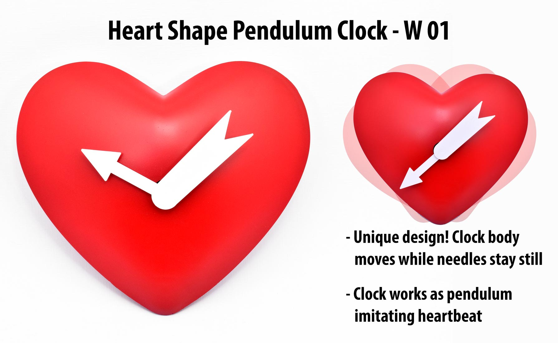 W01 - Heart Shape Pendulum Clock