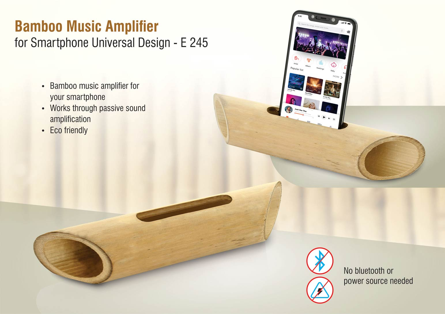 E245 - Bamboo Music Amplifier for Smartphones | Universal Design