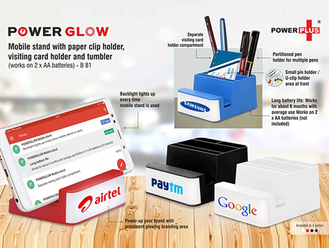 Power Glow Mobile stand with paper clip holder, visiting card holder and tumbler (works on 2 x AA batteries) - B81