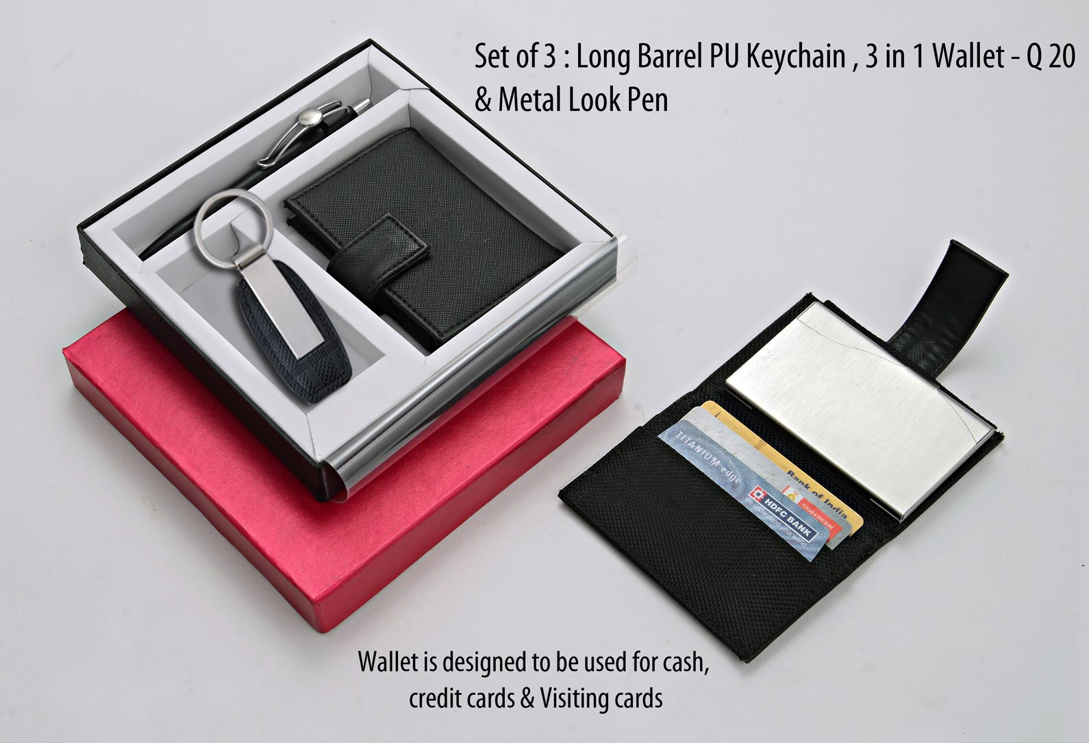 Q20 - Set of 3 : Long barrel PU Keychain, 3 in 1 wallet (For cash, cards and visiting cards) & Metal look Pen