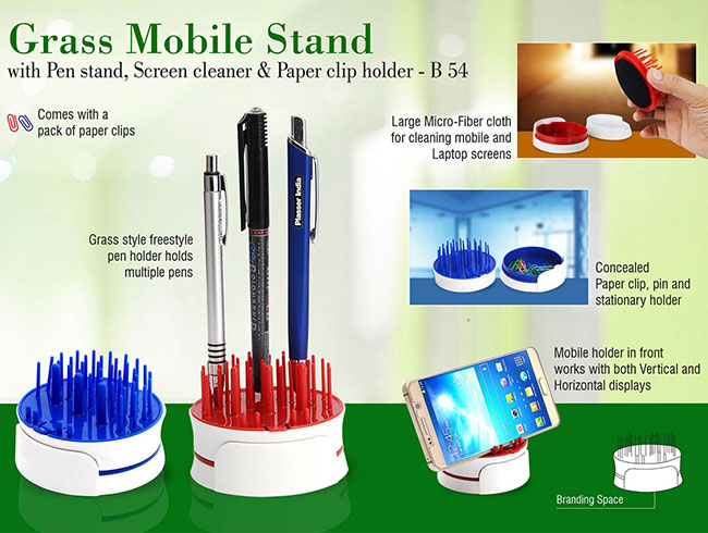 Grass Mobile stand with Pen stand, screen cleaner & paper clip holder - B54