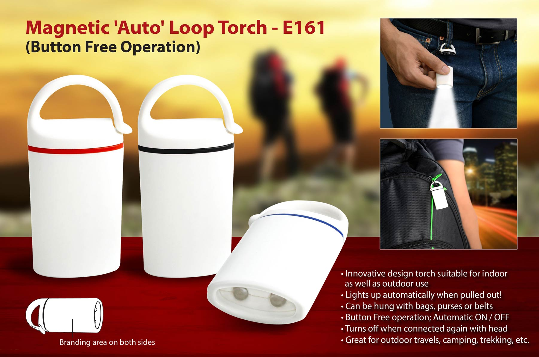 E161 - Auto loop torch: Magnetic, button free operation