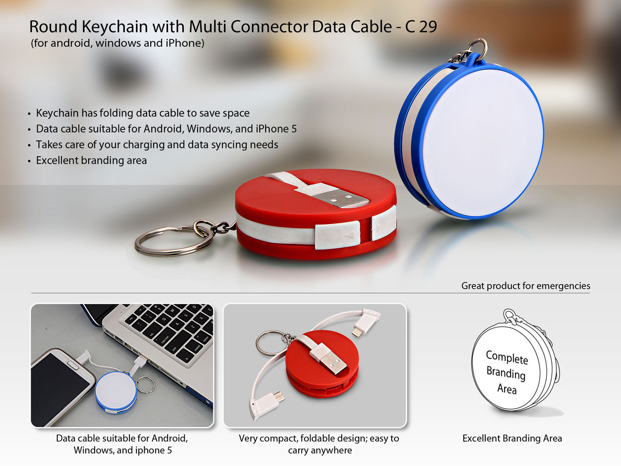 C29 - Round Keychain with Multi Connector Data cable