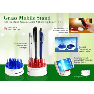 B54 - Grass Mobile stand with Pen stand, screen cleaner & paper clip holder
